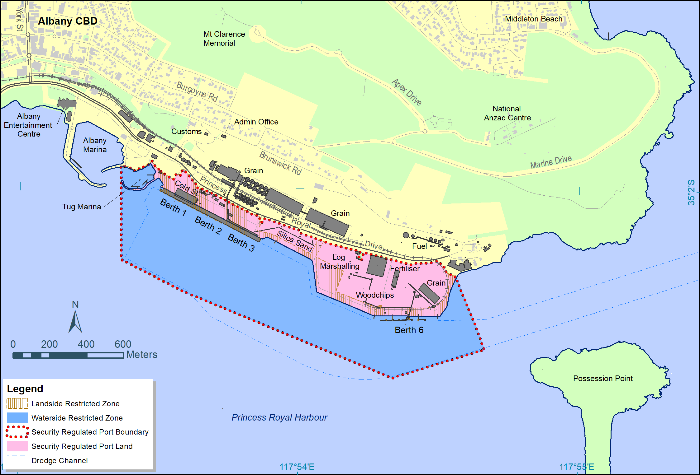 Albany Port Layout and Security Zones