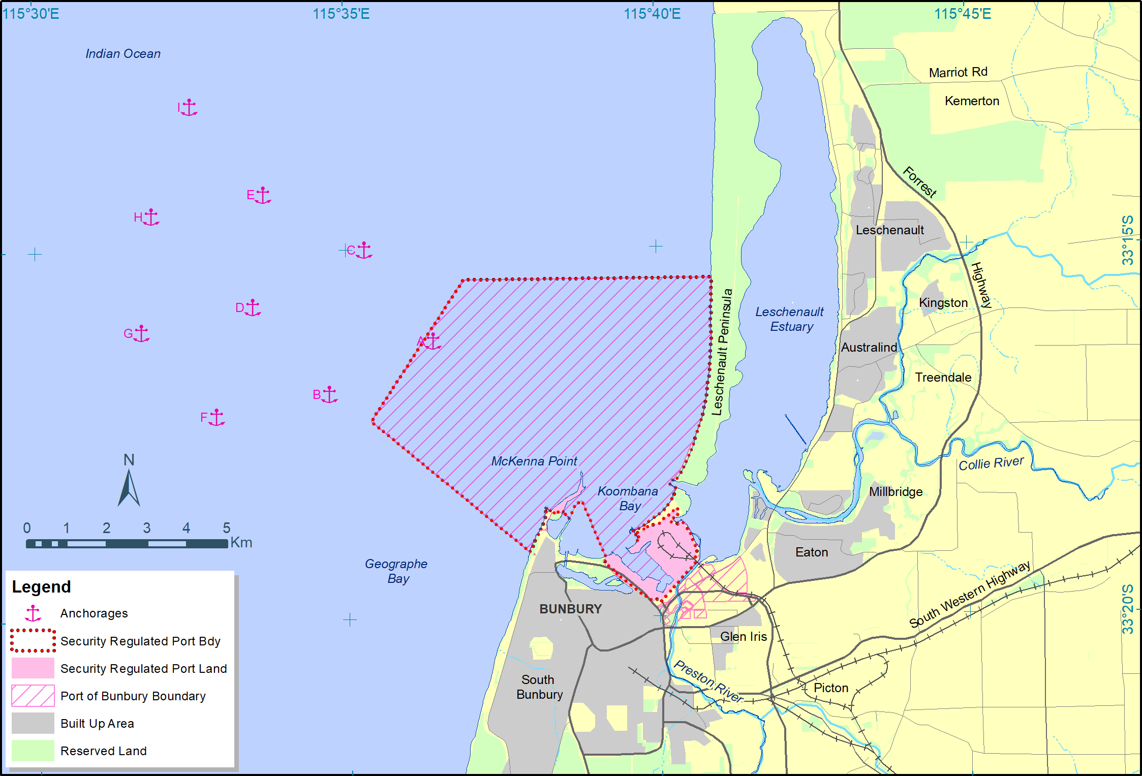 Bunbury Port Boundary and Anchorages